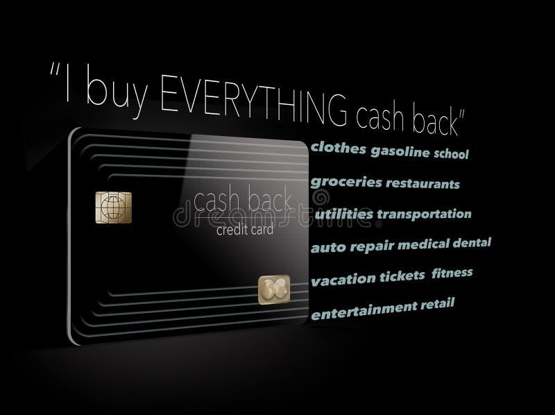 Ich kaufe alles mit einer Kreditkarte des Bargelds zurück Warum nicht? Es ` s freies Geld und ist hier eine Illustration, die die stock abbildung