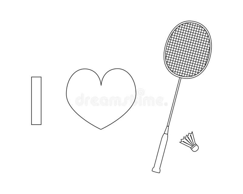 Ich liebe Badmintonvektorlinie Ikone lizenzfreie abbildung
