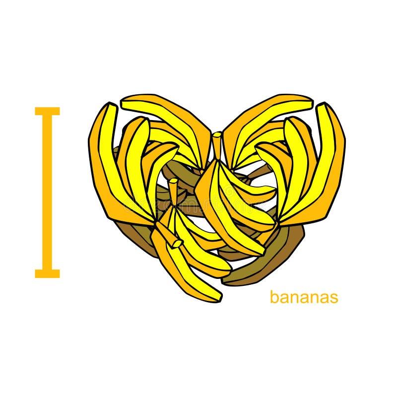 Ich liebe Bananen Symbol des Herzens der Bananen Tropisches Afrikaner-FRU vektor abbildung
