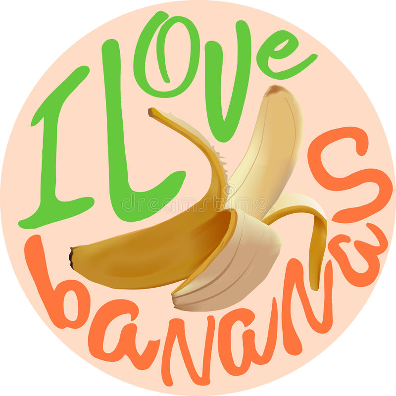Ich liebe Bananenvektorplakat vektor abbildung