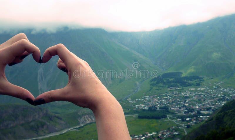 Ich liebe Berge stockfoto