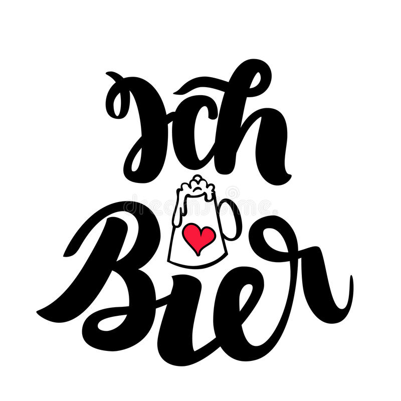Ich liebe Bier. I love Beer. Traditional German Oktoberfest bier festival. Vector hand-drawn brush lettering. Illustration isolated on white royalty free illustration