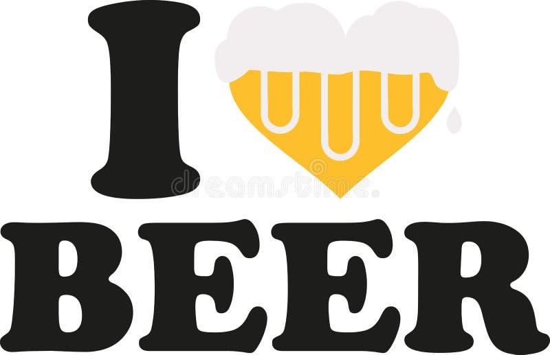 Ich liebe Bier mit dem Herzen, das vom Bier voll ist stock abbildung