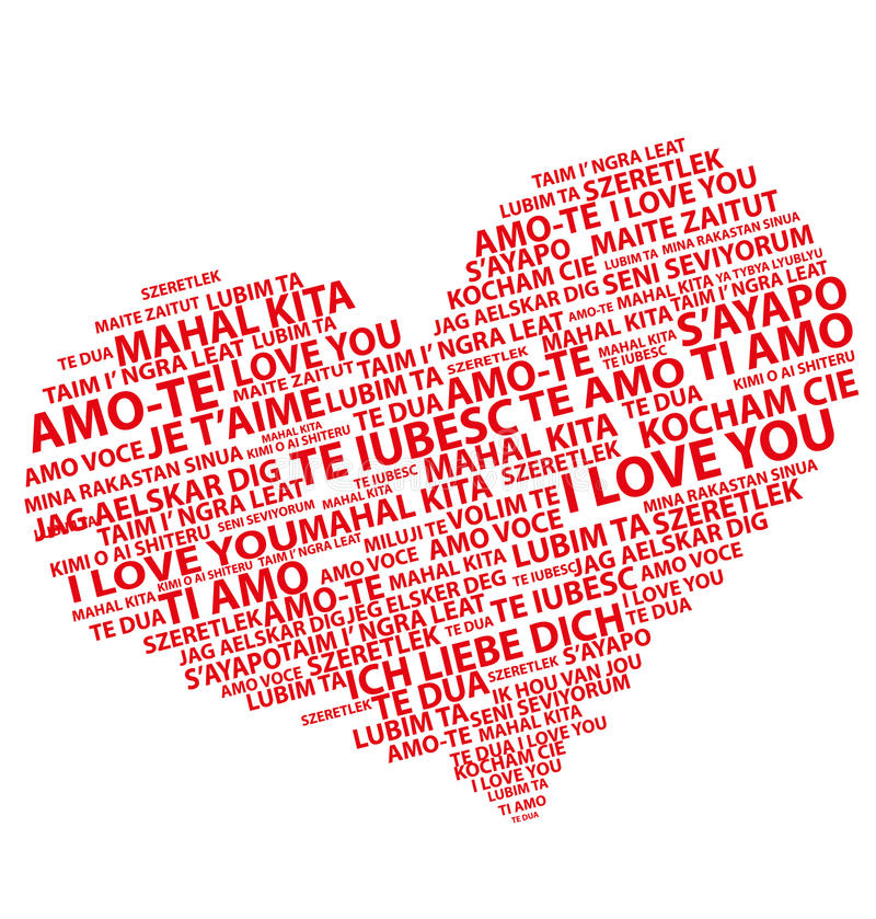 Ich liebe dich in allen Sprachen lizenzfreie abbildung