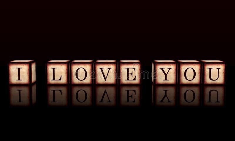 Ich liebe dich in den hölzernen Würfeln 3d stock abbildung