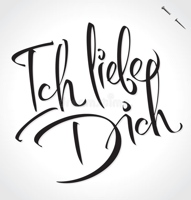 ich liebe dich hand lettering vector stock vector