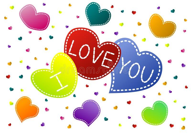 Ich liebe dich Herzen Valentine Card vektor abbildung