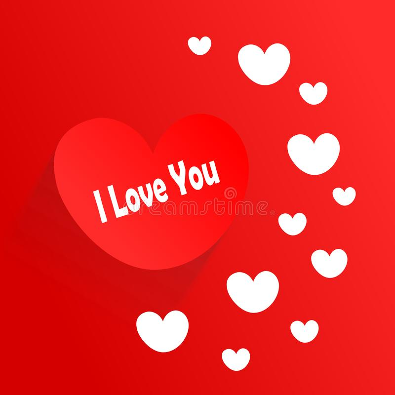 Ich liebe dich Herzillustration Romantische Liebe lizenzfreies stockbild