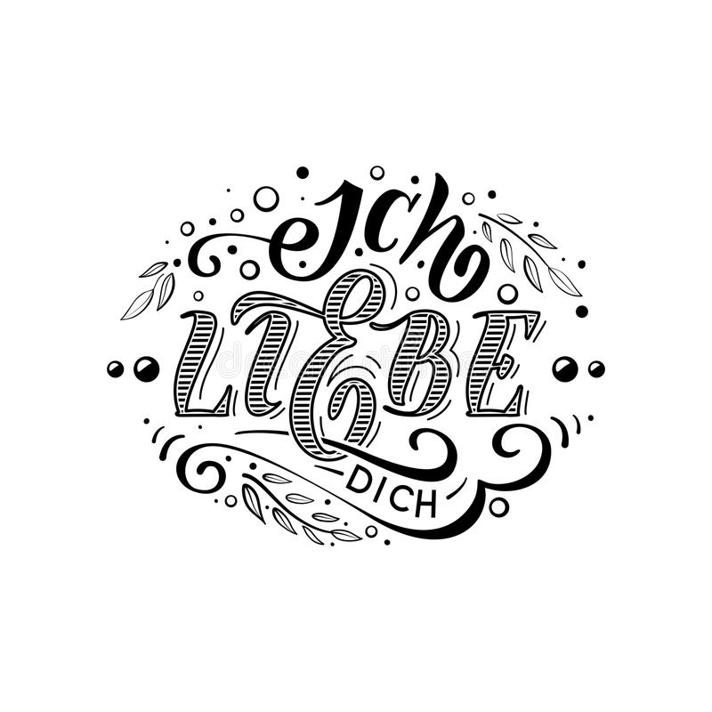 Ich liebe dich. Declaration of love in Dutch. Beautiful lettering for greating card, poster, printing on a mug etc vector illustration