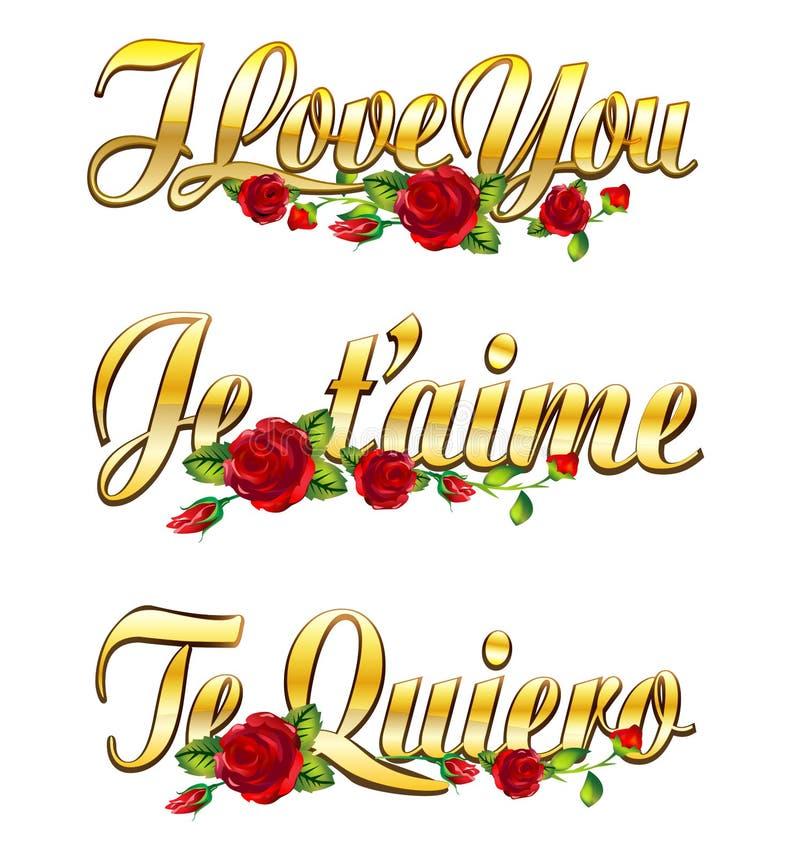 Ich liebe dich Je taime, Te quiero vektor abbildung