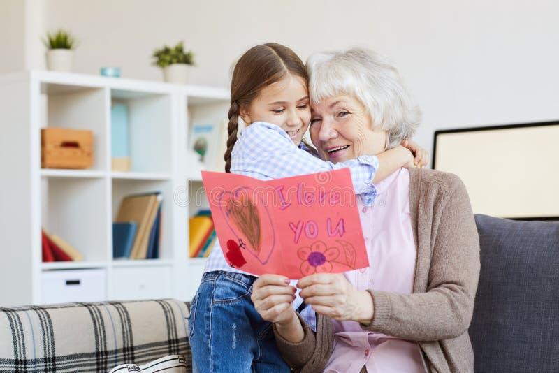 Ich liebe dich Karte für Großmutter stockfotografie