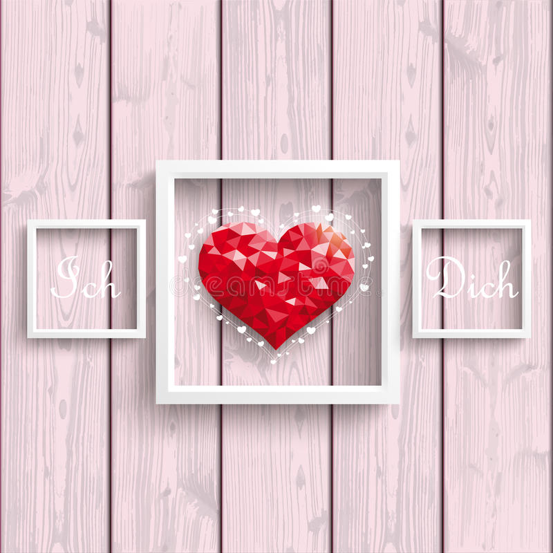 Ich Liebe Dich Low Poly Heart Pink Wood Frames. German text Ich Liebe Dich, translate I Love You royalty free illustration