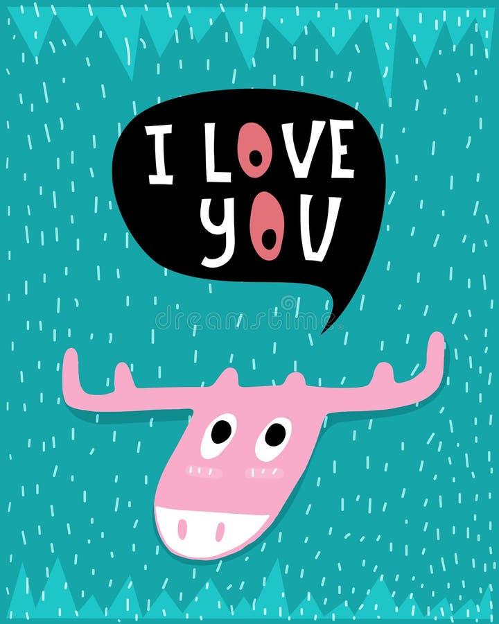 Ich liebe dich Lustige Vektorkarte mit netten rosa Elchen, Aufschrift und dekorativen Elementen auf einem neutralen Hintergrund lizenzfreie abbildung