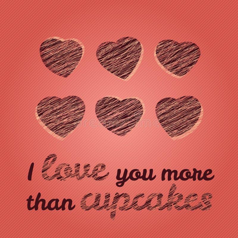'Ich liebe dich mehr Typografie als der kleinen Kuchen' Romantiic-Valentinstag-Karte lizenzfreie abbildung
