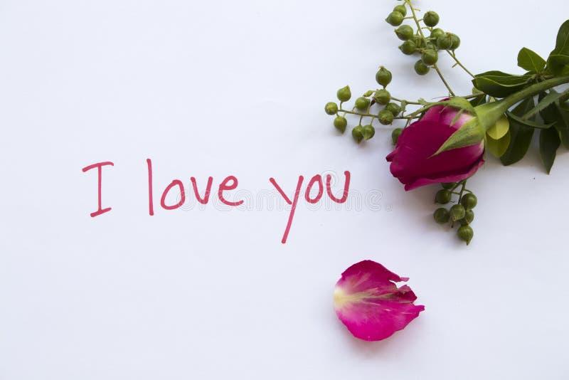 Ich liebe dich Mitteilungskarte mit rosa rosafarbenen Blumen stockfoto