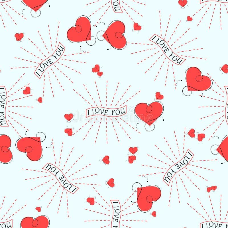 Ich liebe dich nahtloses Muster des Retro- abstrakten Herzens Vektorillustration für romantisches Nostalgiedesign Kann für Tapete stock abbildung