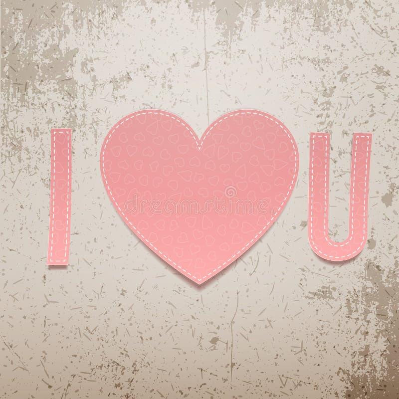 Ich liebe dich Realistisches Valentinsgruß-Tagespapier Zeichen vektor abbildung