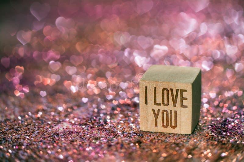 Ich Liebe Dich Text Mit Herz Bokeh Licht Stockfoto - Bild