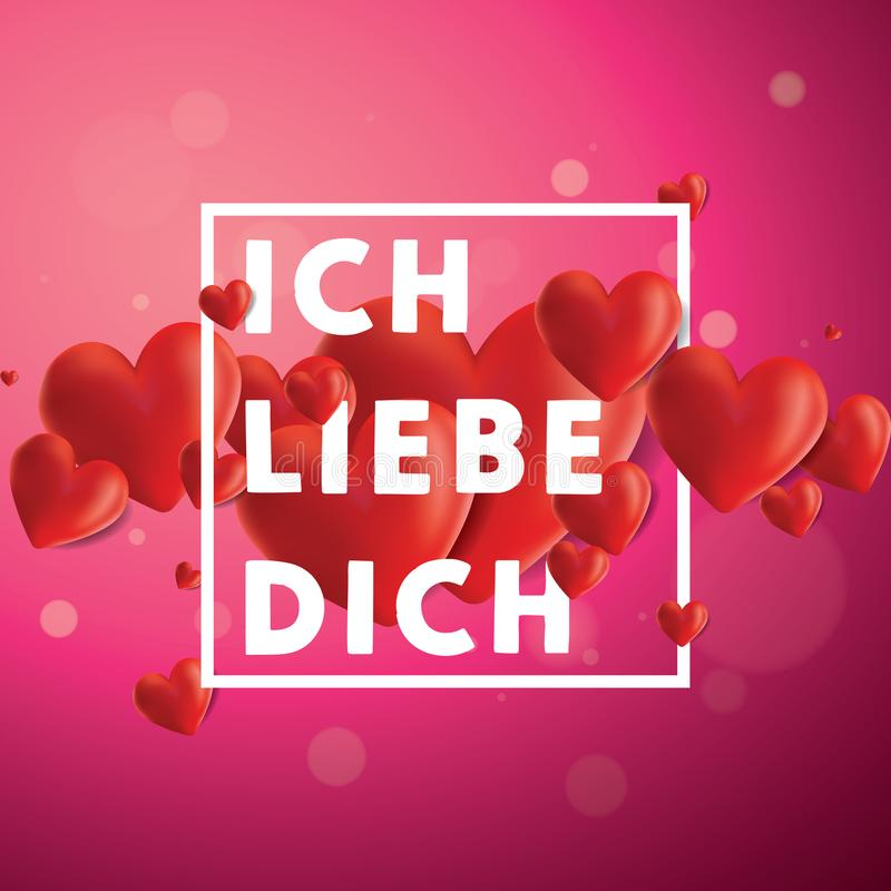 Ich liebe dich Vector Background. Decorative vector background with realistic 3D looking hearts created with gradient mesh, Ich Liebe Dich I love You in German vector illustration