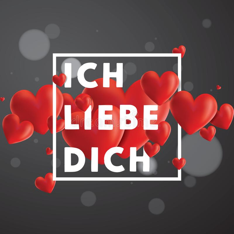 Ich liebe dich Vector Background. Decorative vector background with realistic 3D looking hearts created with gradient mesh, Ich Liebe Dich I love You in German royalty free illustration