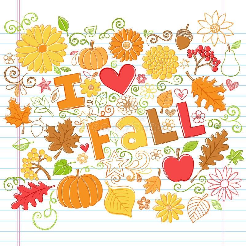 Ich liebe Fall zurück zu Schule Autumn Doodles lizenzfreie abbildung