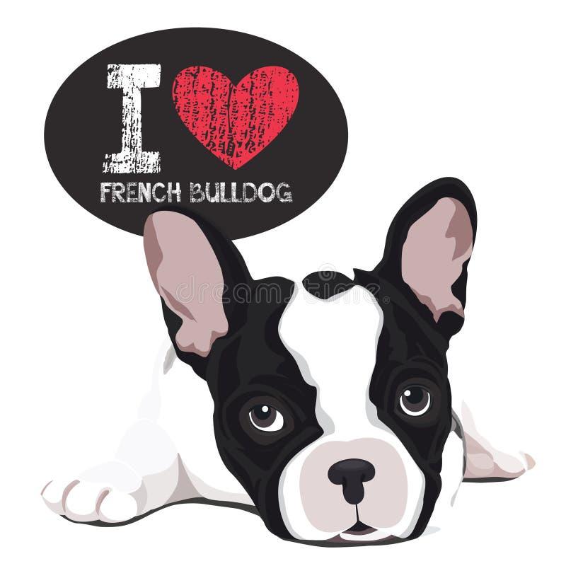 Ich liebe französische Bulldogge stock abbildung
