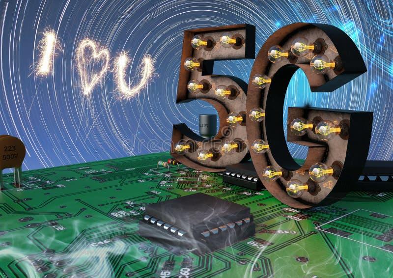 Ich liebe 5g, das in einem High-Techen Hintergrund Breitband ist vektor abbildung