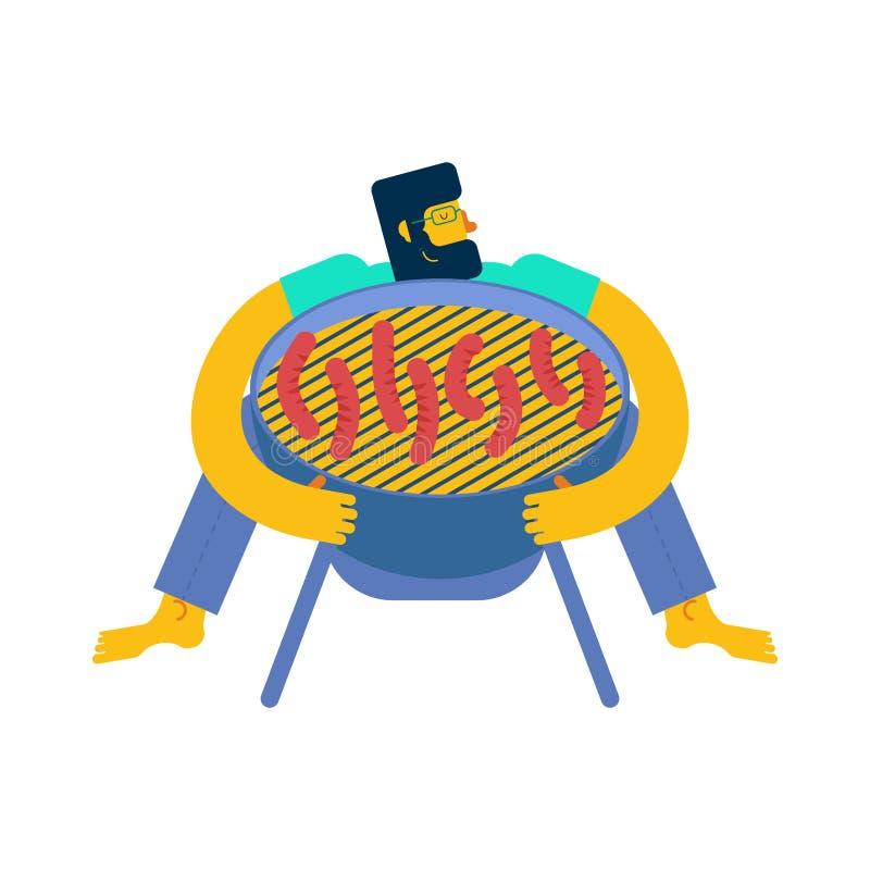 Ich liebe Grill Mann, der BBQ-Grill umarmt stock abbildung
