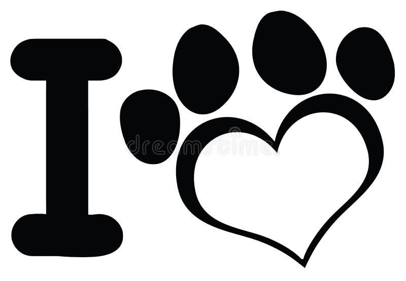Ich liebe Hund mit schwarzem Herzen Paw Print Logo Design stock abbildung