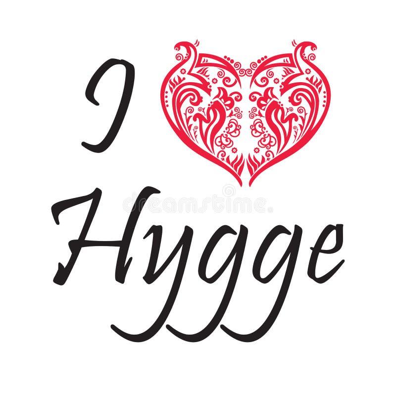 Ich liebe Hygge-Text im Schwarzen, das swirly dänischen Lebensstil mit Blumen-Herzform im Rot auf weißem Hintergrund symbolisiert vektor abbildung