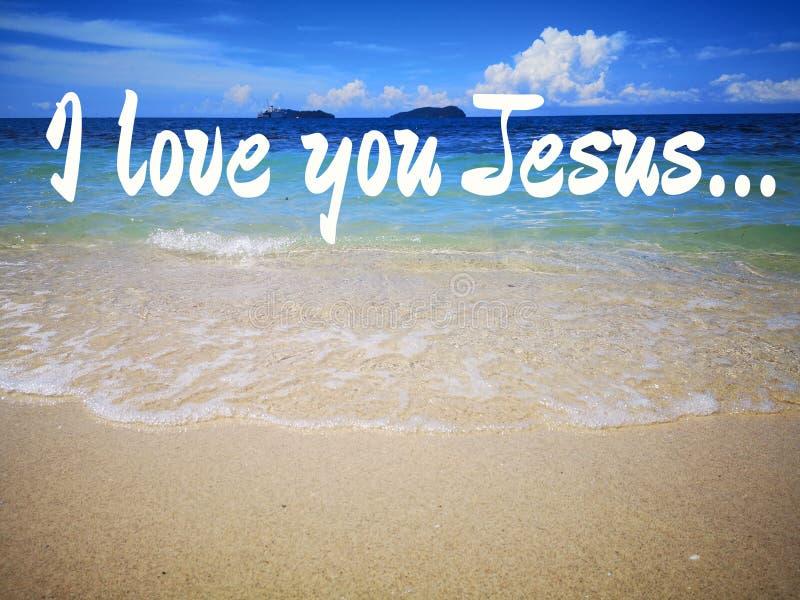 Ich liebe Jesus-Entwurf für Christentum mit Ozeanhintergrund stockfoto