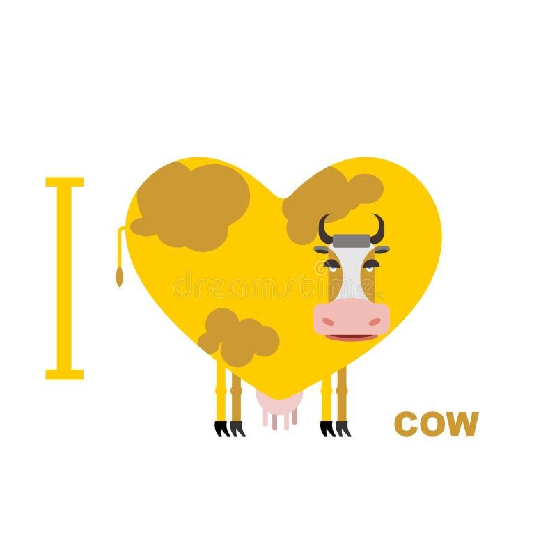 Ich liebe Kuh Symbolherz von Kühen Vektorillustration für Liebhaber stock abbildung