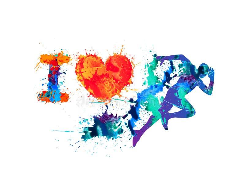 Ich liebe Lauf Laufender Mann der Spritzenfarbe lizenzfreie abbildung