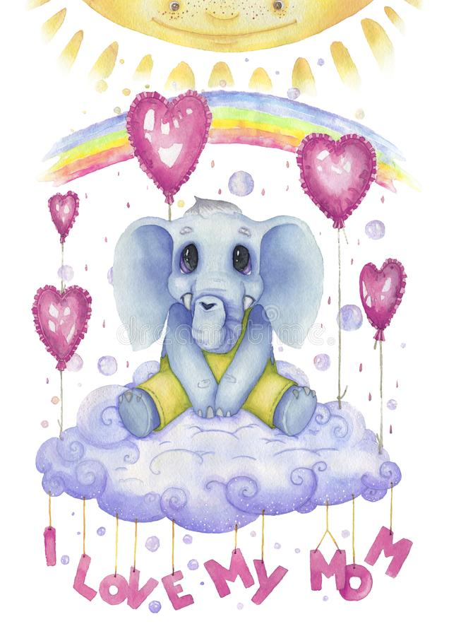 Ich liebe meine Mutter, Watercolourplakat für Kindertagesstätte Netter Charakter, kleiner Elefant vektor abbildung