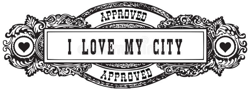 ich liebe meine Stadt stock abbildung