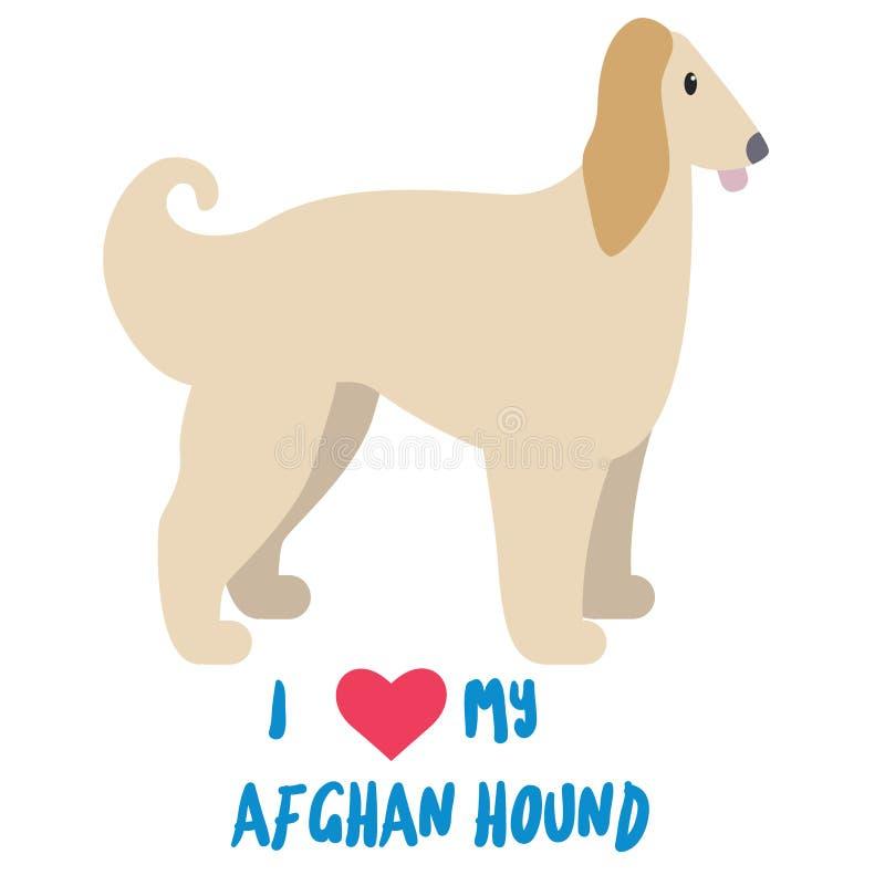 Ich liebe meinen afgan Jagdhund vektor abbildung