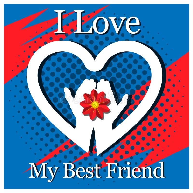 Ich liebe meinen besten Freund - Karte mit der Hand und den Herzen stock abbildung