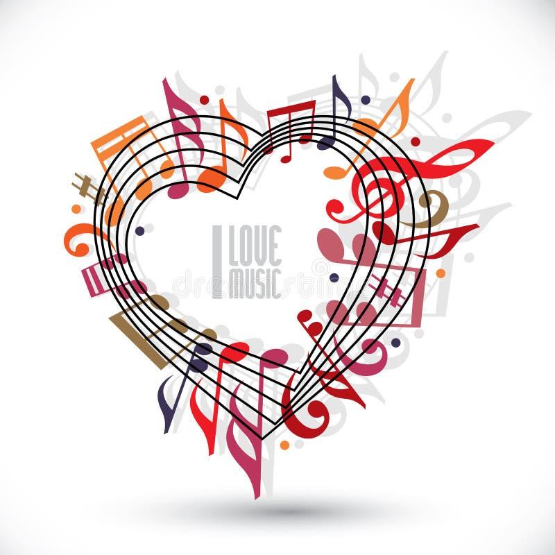 Ich liebe Musik, das Herz, das mit musikalischen Anmerkungen gemacht werden und Notenschlüssel lizenzfreie abbildung