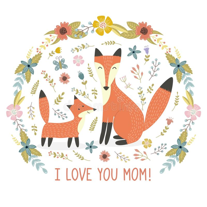 Ich liebe Muttergrußkarte mit einem Mutterfuchs und ihrem Baby vektor abbildung