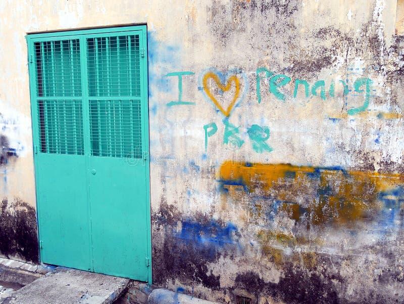 Ich liebe Penang Wand-Georgetown Malaysia lizenzfreie stockfotos