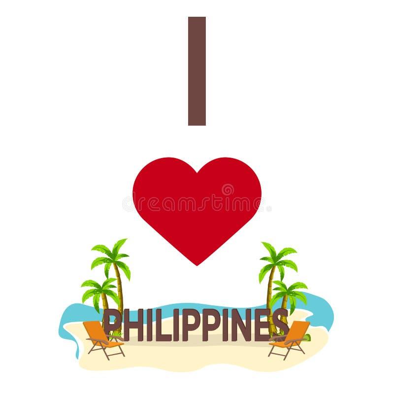 Ich liebe Philippinen Reise Palme, Sommer, Klubsessel Flache Illustration des Vektors lizenzfreie abbildung
