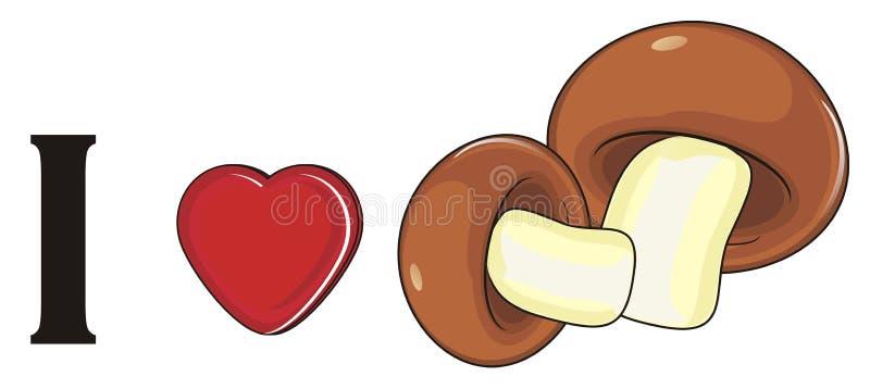 Download Ich liebe Pilze stock abbildung. Illustration von zeichen - 90227020