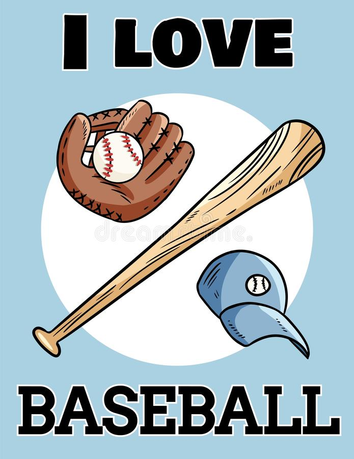 Ich liebe Postkarten-Baseballschläger des Baseballs netten, Handschuh und Ball, Ikonensportlogo Sommerflieger- oder -fahnenentwur vektor abbildung