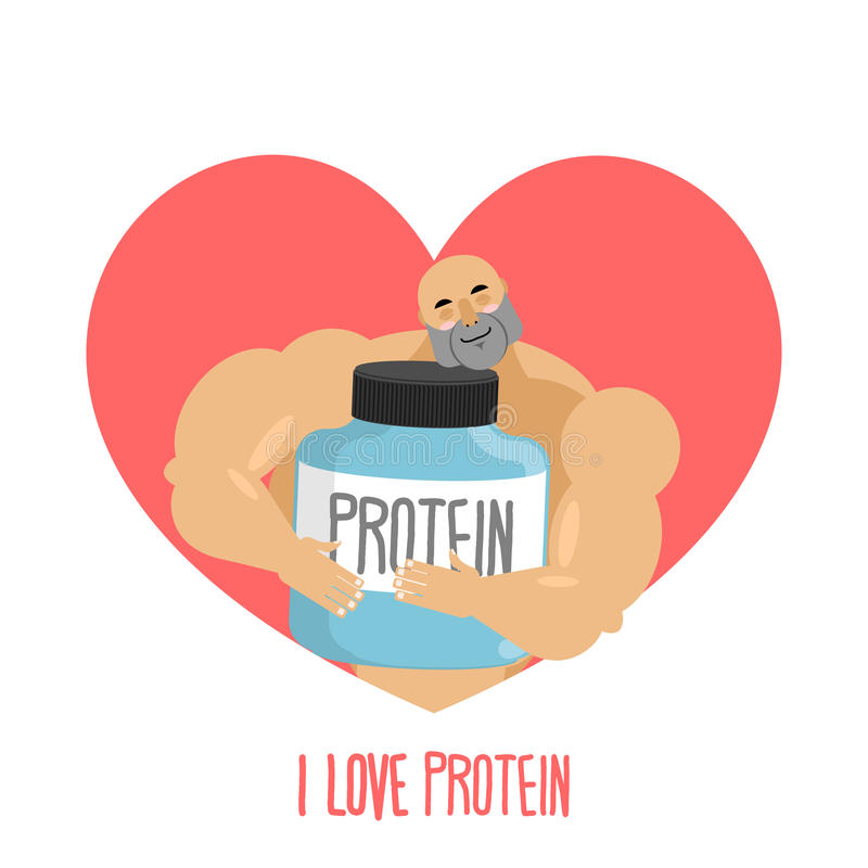 Ich liebe Protein Athlet und Sport-Nahrung Netter Bodybuilder stock abbildung