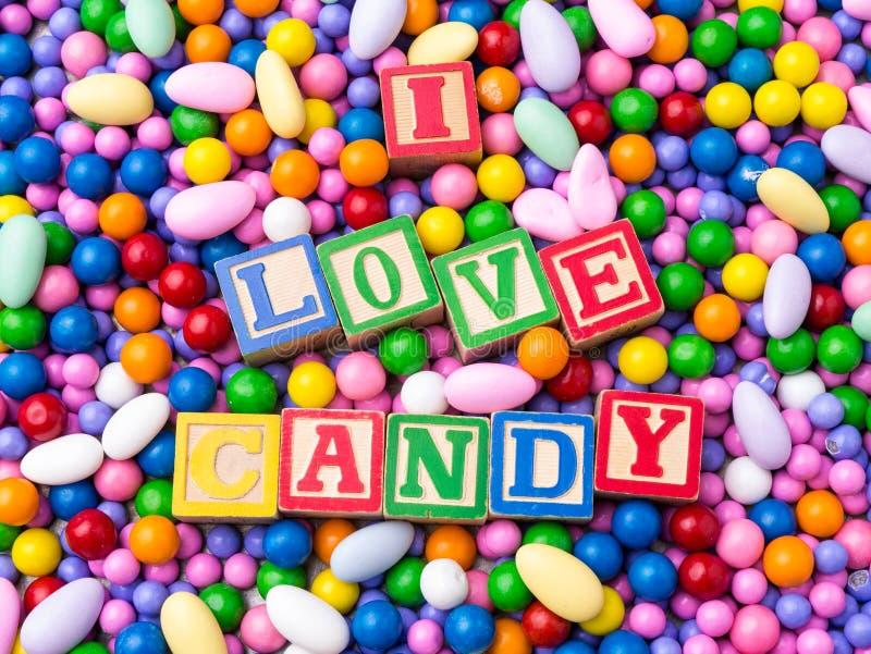 Ich liebe Süßigkeit lizenzfreies stockbild