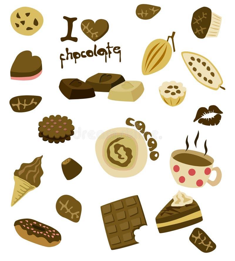 Ich liebe Schokolade stock abbildung
