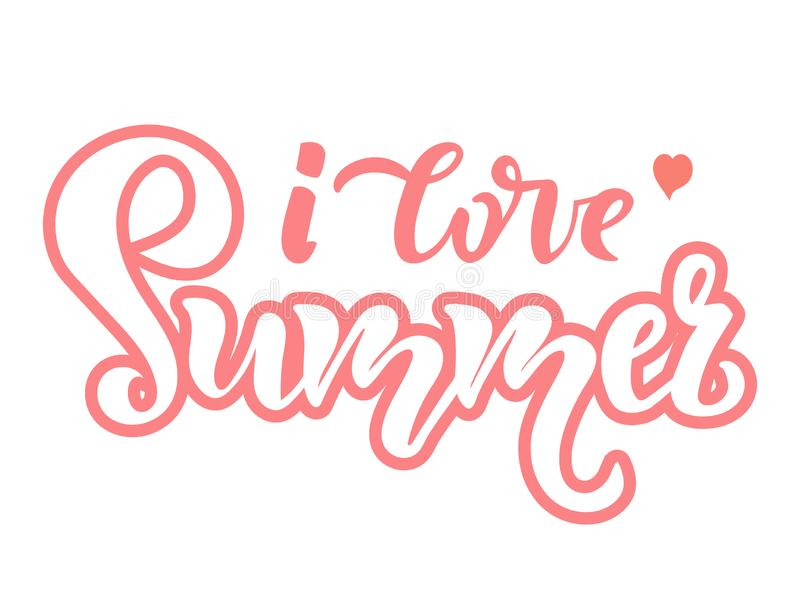 Ich liebe Sommer Zitat, Text beschriftend Jahreszeit-Typografie-Entwurf für Feiertagseinladung, Fahne, Karte, Plakat, Plakat, Fli vektor abbildung