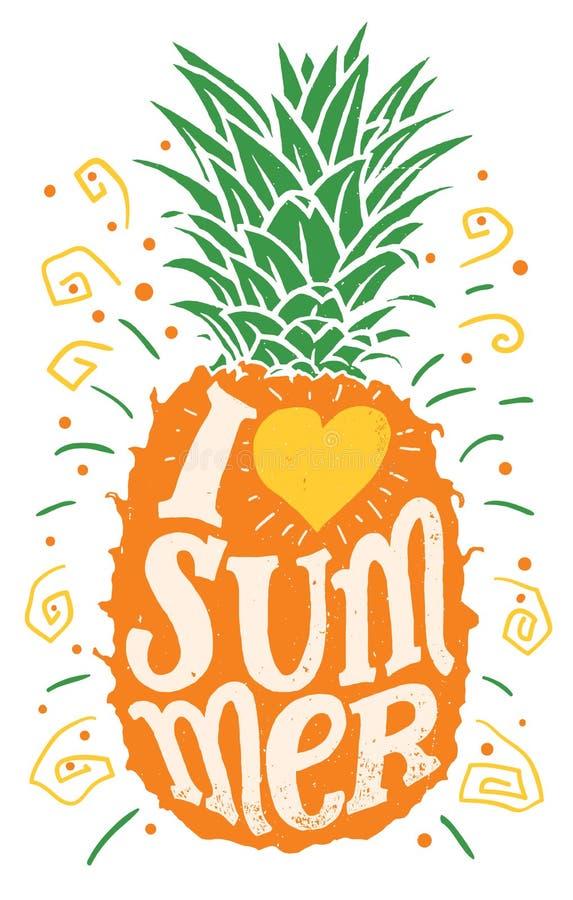Ich liebe Sommerhandzeichnungs-Typografieillustration stock abbildung