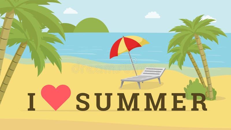 Ich liebe Sommervektorpostkarte Badeort mit Klappstuhl, fördernder Plakatplan des Strandschirms Mann und Frauen im B?ro entscheid vektor abbildung