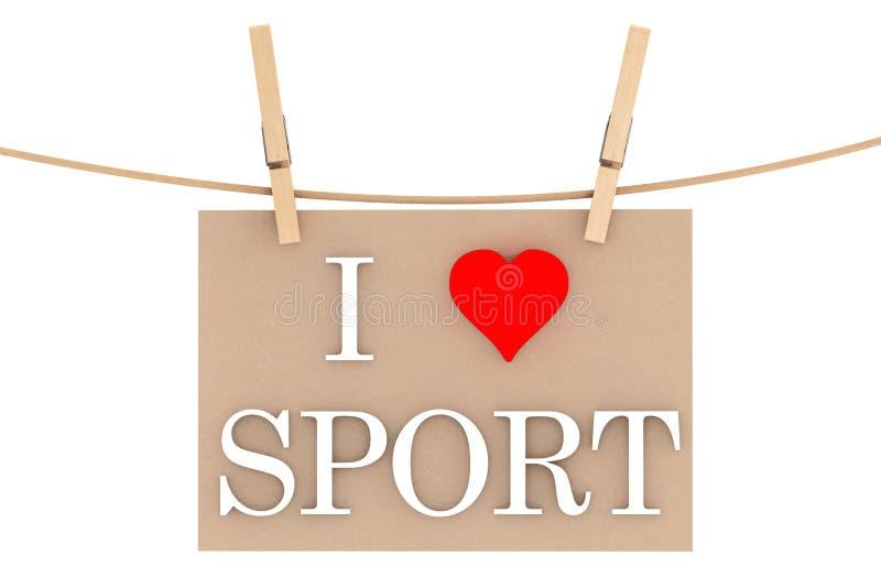Ich liebe Sport mit dem Herzen, das mit Wäscheklammern hängt lizenzfreie stockbilder